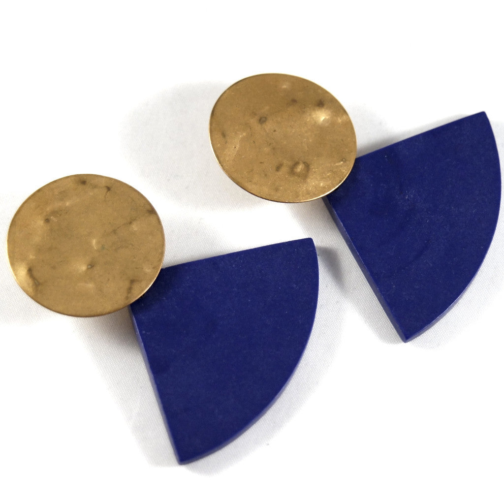Martha Sturdy Geometric Earrings - Indigo Resin