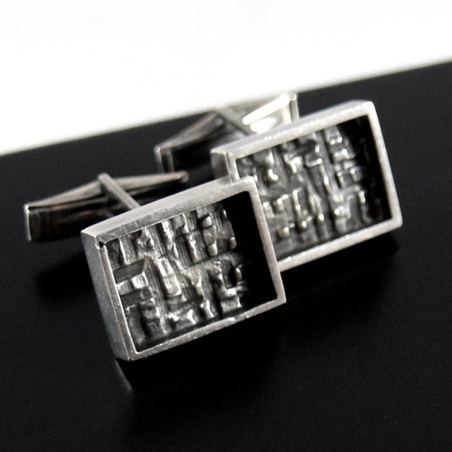 ON HOLD - Bernard Chaudron Sterling Cufflinks - Shadow Box