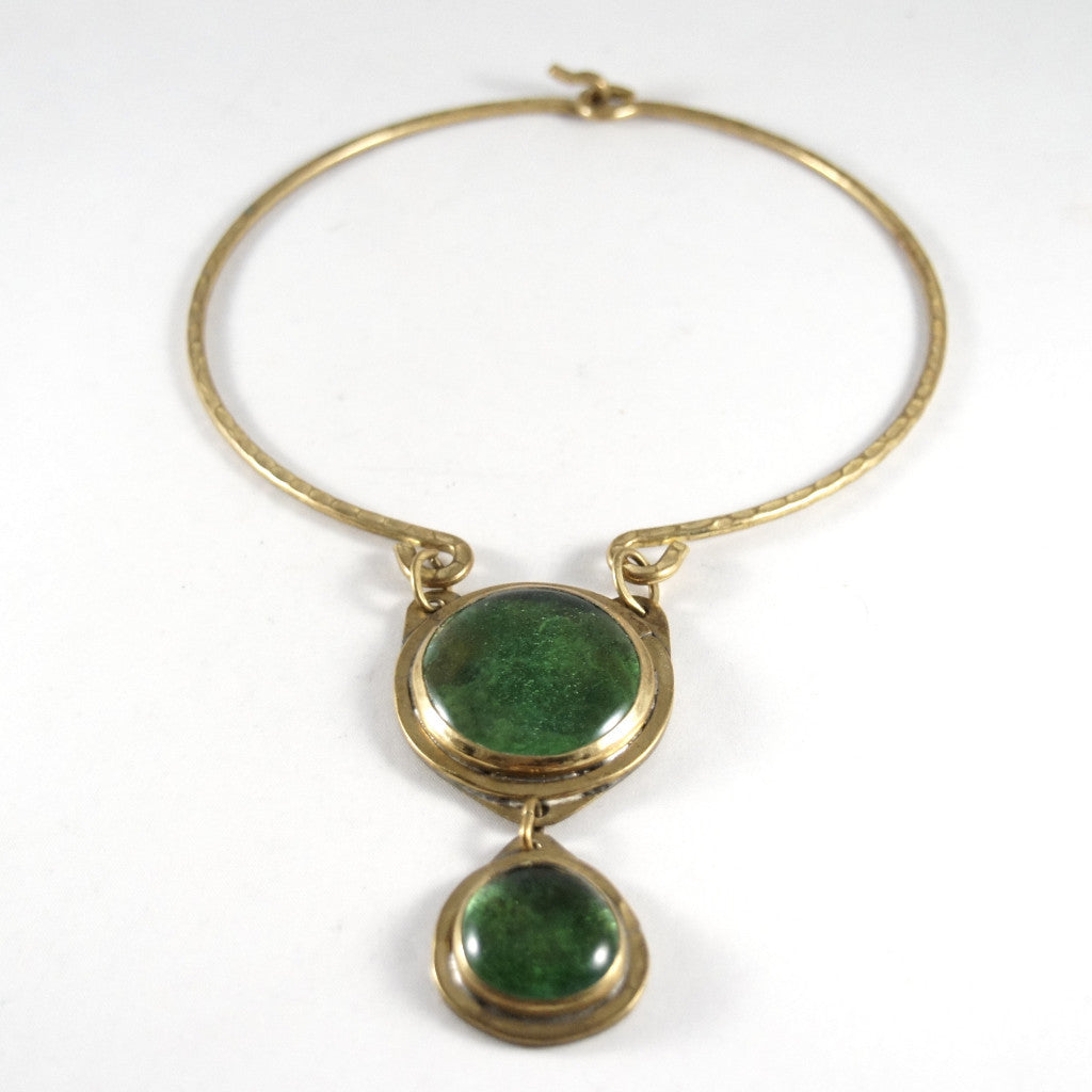 Rare Rafael Canada Necklace - Choker Double Stone - Brass