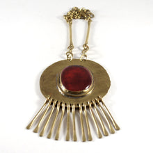 Huge Rafael Canada Necklace Brass - Kinetic - Deep Red Cabochon