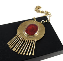 Load image into Gallery viewer, Huge Rafael Canada Necklace Brass - Kinetic - Deep Red Cabochon
