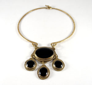 Rare Rafael Canada Necklace - Choker Four Cabochon - Brass