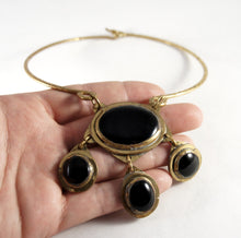 Load image into Gallery viewer, Rare Rafael Canada Necklace - Choker Four Cabochon - Brass