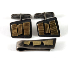 Polly Stehman Sterling Cufflinks & Tie Bar - Golden Modernist