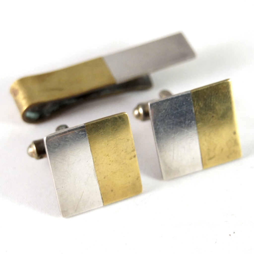 Betty Cooke Sterling Cufflinks & Tie Bar - American Modernist