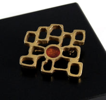 Load image into Gallery viewer, Bernard Chaudron Cubist Brooch - Red Circle