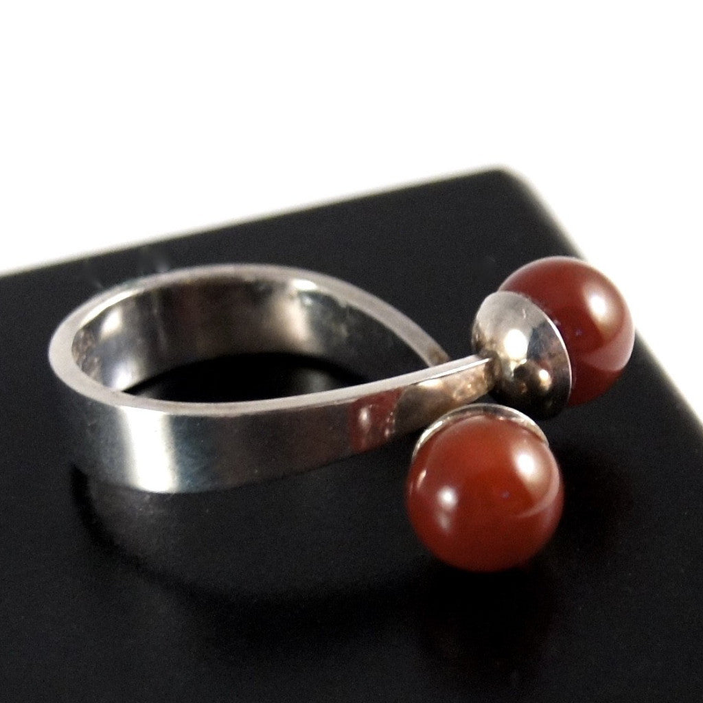 David Andersen Red Statement Ring - Willy Winnaess- Sterling
