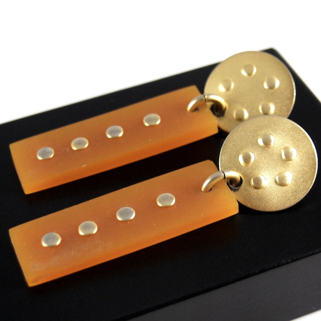 Martha Sturdy Earrings - Orange Resin