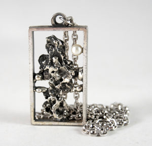 Guy Vidal Framed ShadowBox Necklace - Brutalist Pearl