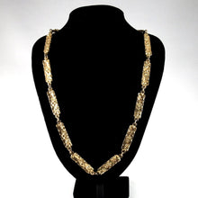 Robert Larin Gold Chain Necklace - Textured Panels - Brutalist