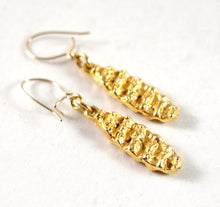 Robert Larin Gold Earrings - Textured Panels - Brutalist
