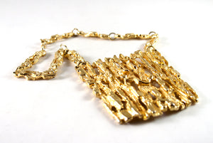 Rare Robert Larin Gold Bib Necklace - Brutalist