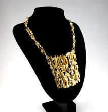 Load image into Gallery viewer, Rare Robert Larin Gold Bib Necklace - Brutalist