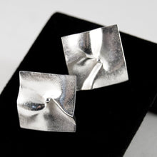 Load image into Gallery viewer, Lapponia Earrings - Modernist Silver - Bjorn Weckstrom - Shield Design