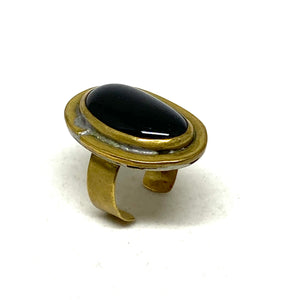 Rafael Alfandary Ring - Black Glass & Brass