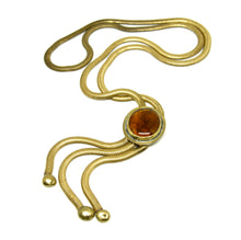 Rafael Canada Lariat Necklace - Amber Orange Glass - Kinetic