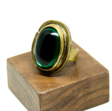 Load image into Gallery viewer, Rafael Alfandary Ring - Emerald Green - Brass