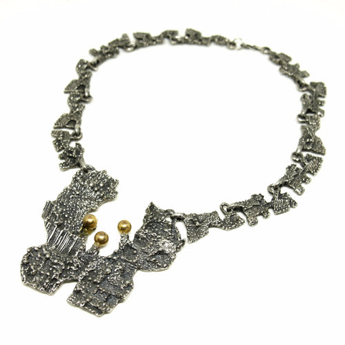 Large Robert Larin Bib Necklace - Lichen - Modernist Brutalist