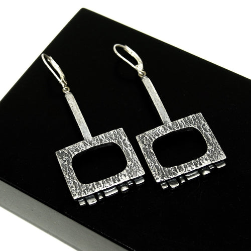 Guy Vidal Geometric Earrings - Modernist Brutalist