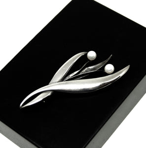 Rare Georges Delrue Flower Brooch - Sterling - Quebec Modernist