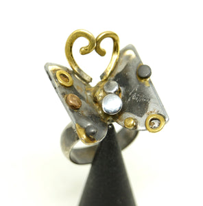 Unique Richard Bitterman Butterfly Ring - Size 7.5