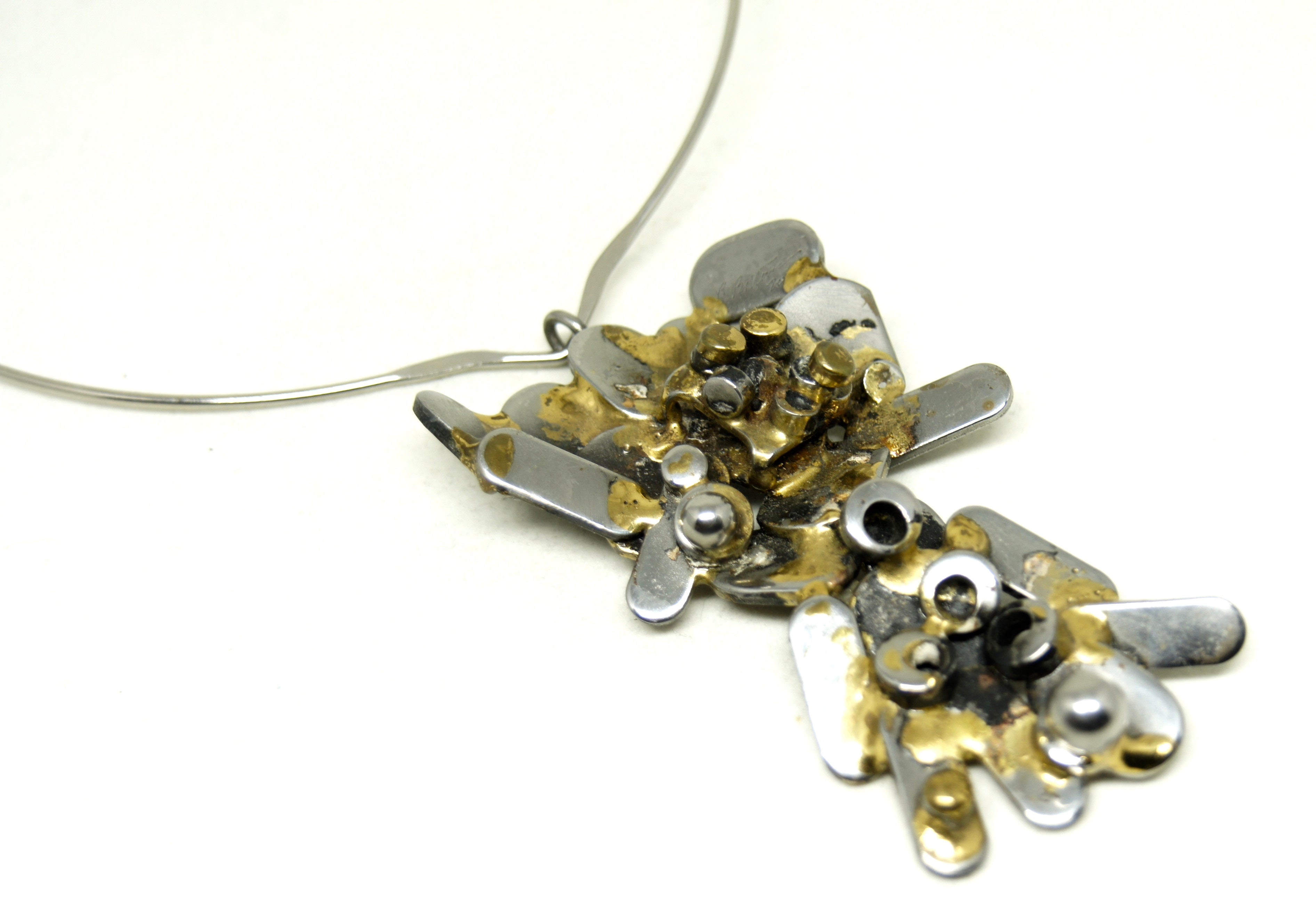 Large Richard Bitterman Necklace - Brutalist Mixed Metals