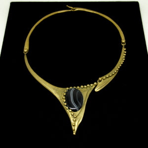 Stephen Burr Collar Necklace - Black Banded Onyx