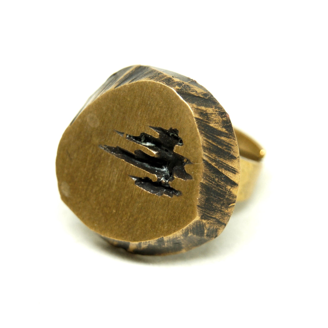 Karl Laine Geometric Ring - Petrified Wood Bronze