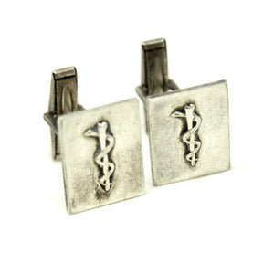 Carl Poul Petersen Sterling Cufflinks - Rod of Asclepius