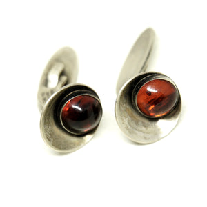 Niels Erik From Amber Cufflinks & Tie Bar - Denmark Sterling