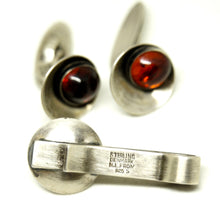 Load image into Gallery viewer, Niels Erik From Amber Cufflinks & Tie Bar - Denmark Sterling