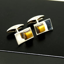 Load image into Gallery viewer, Turun Hopea Sterling Cufflinks - Tigers Eye Stone