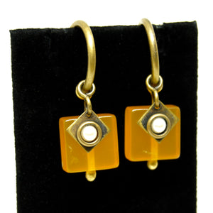 Martha Sturdy Charm Hoop Earrings - Orange Resin & Pearl