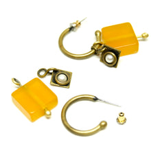 Load image into Gallery viewer, Martha Sturdy Charm Hoop Earrings - Orange Resin & Pearl