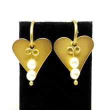 Load image into Gallery viewer, Martha Sturdy Charm Hoop Earrings - Hearts & Pearls