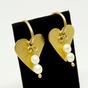Martha Sturdy Charm Hoop Earrings - Hearts & Pearls