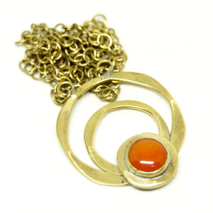 Rafael Canada Necklace Brass - Orange Glass