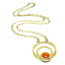 Load image into Gallery viewer, Rafael Canada Necklace Brass - Orange Glass