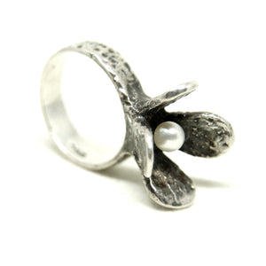 Rare Robert Larin Sterling Ring - Modernist Flower