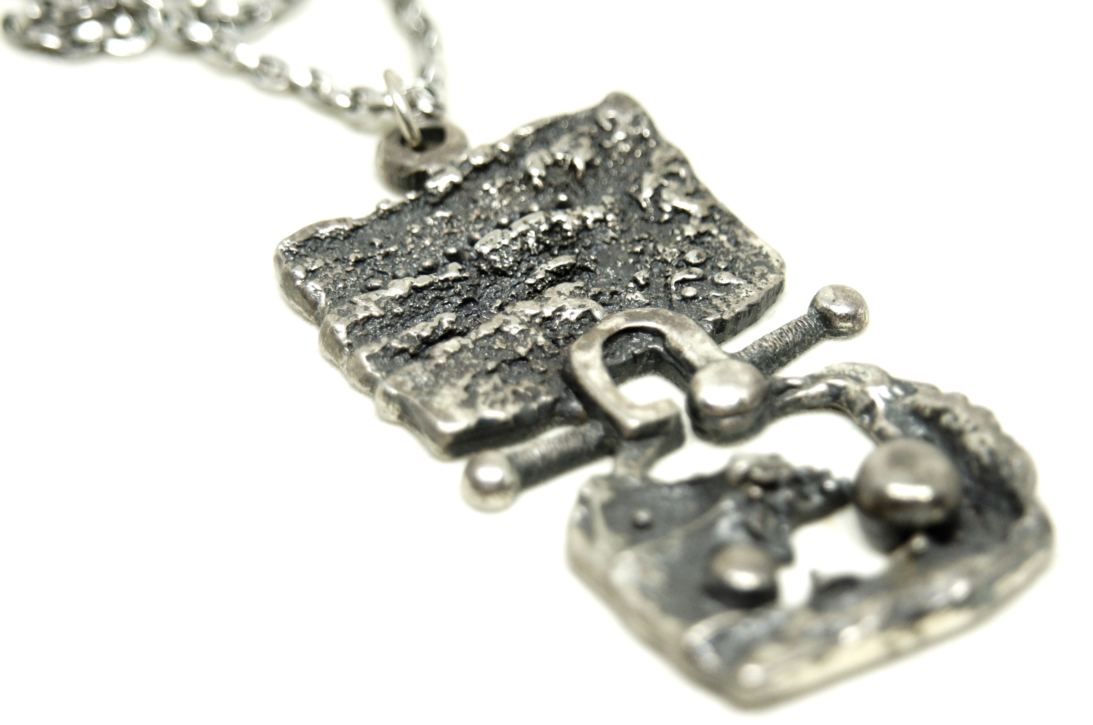 Guy Vidal Necklace - Textural Openwork - Brutalist Modernist