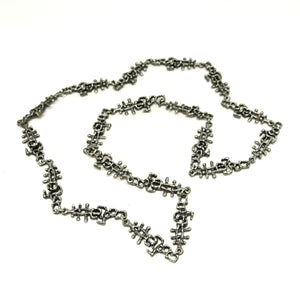 Guy Vidal Chain Necklace - Lines & Dashes - Modernist Brutalist