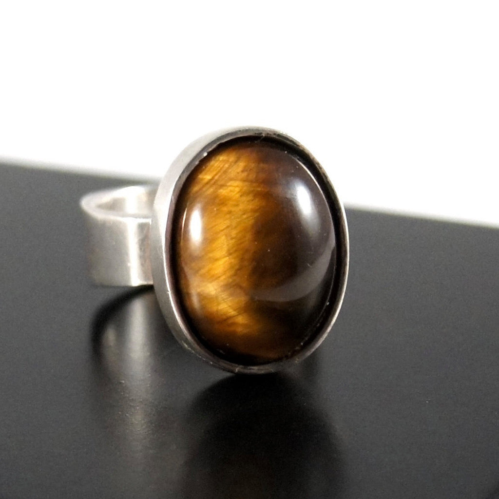 Rare Bernard Chaudron Ring - Glowing Tigers Eye