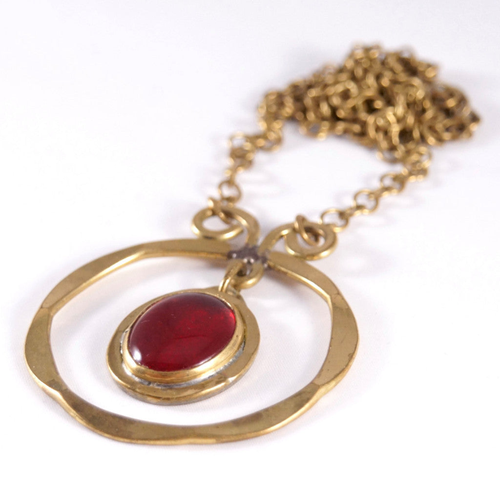 Rafael Canada Necklace Brass - Kinetic - Red Glass