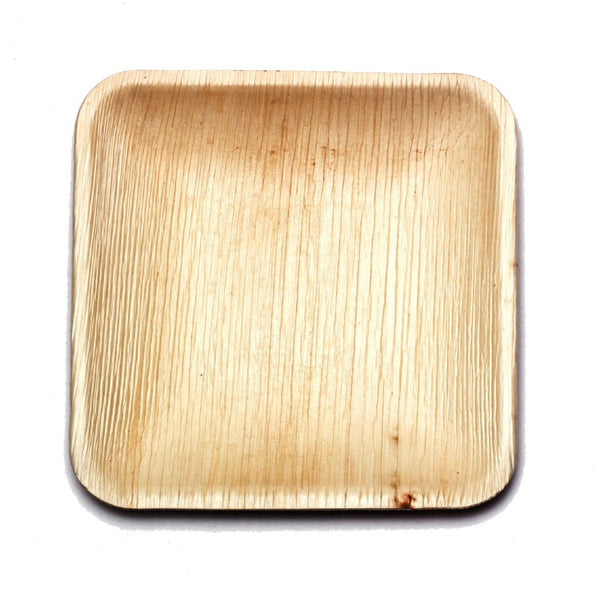 "6"" Square Palm Leaf Plates in Bulk Pack - 100 plates"