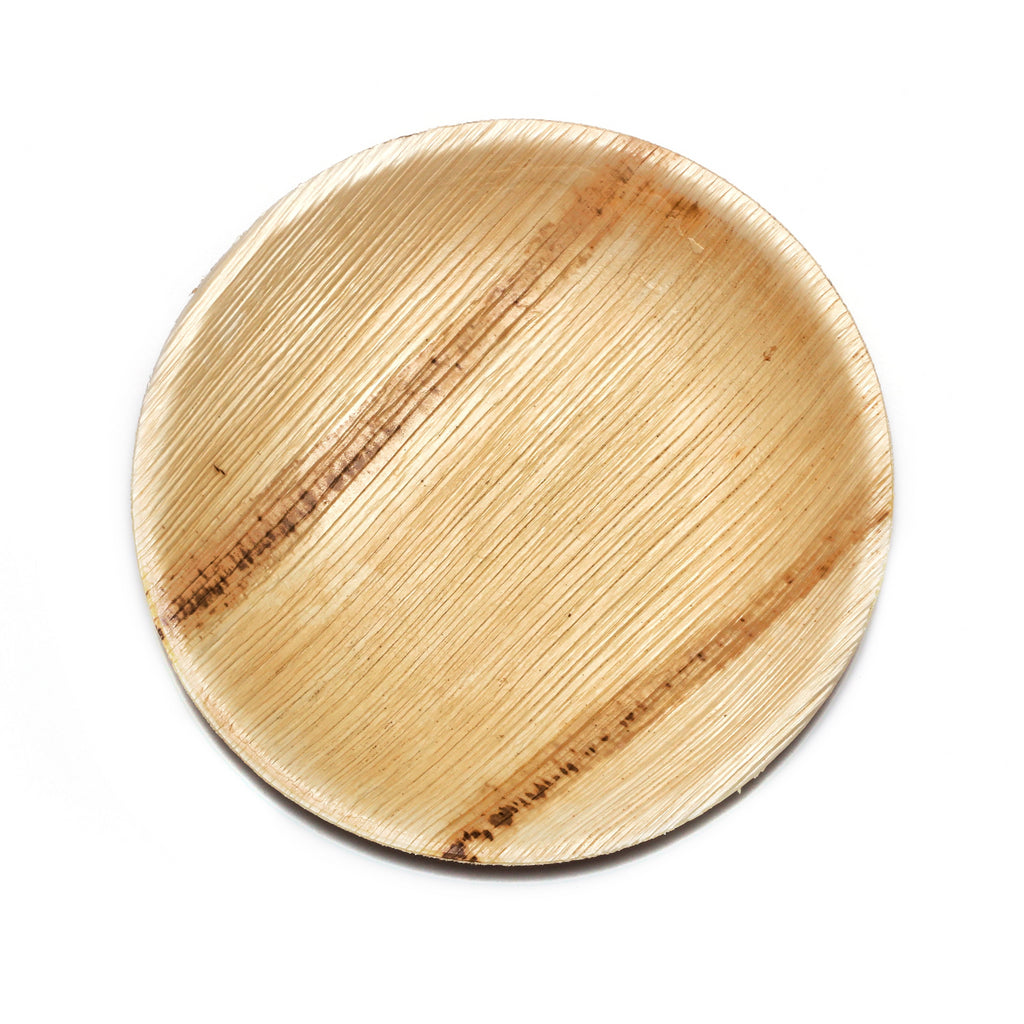 "6"" Round Palm Leaf Plates in Mini Pack - 25 pieces"