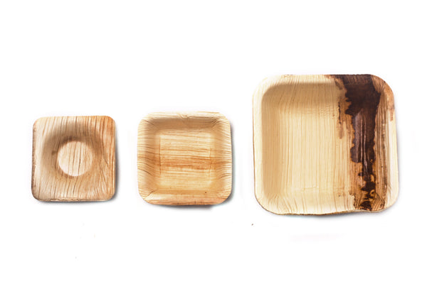 "2"" Square Palm Leaf Sauce Bowls in Bulk Case - 400 pieces"