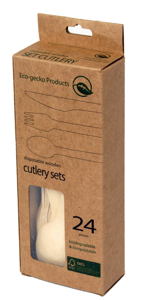 "6 ½"" FSC™-certified Wooden Cutlery in Retail Packs (8 forks, 8 knives, 8 spoons) - 36 packs"