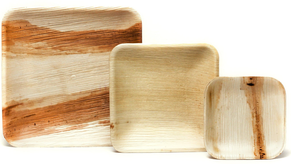 "10"" Square Palm Leaf Plates in Bulk Pack - 100 pieces"