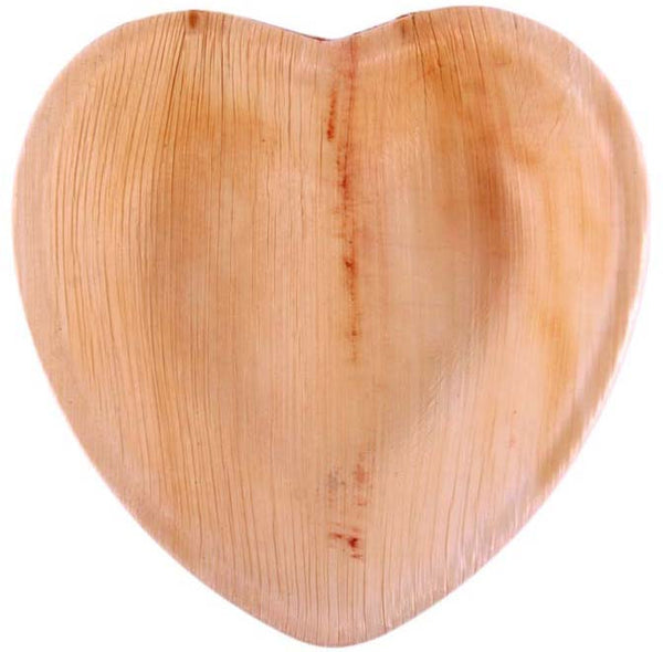 "6 ½"" Heart-shaped Palm Leaf Plates in Bulk Pack - 100 plates"