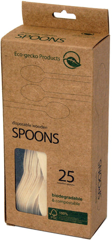"6 ½"" FSC™-certified Wooden Spoons in 25-piece Retail Packs - 36 packs"